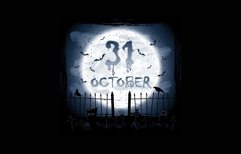 Фото обои октябрь, кладбище, вороны, ужас, horror, жуткий, creepy, full moon, полная луна, october, scary, graveyard, crows, …