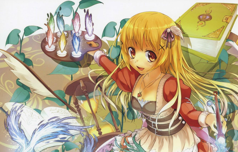Фото обои перо, волшебство, магия, девочка, кулон, книга, палитра, кисть, длинные волосы, художница, песочные часы, большие глаза
