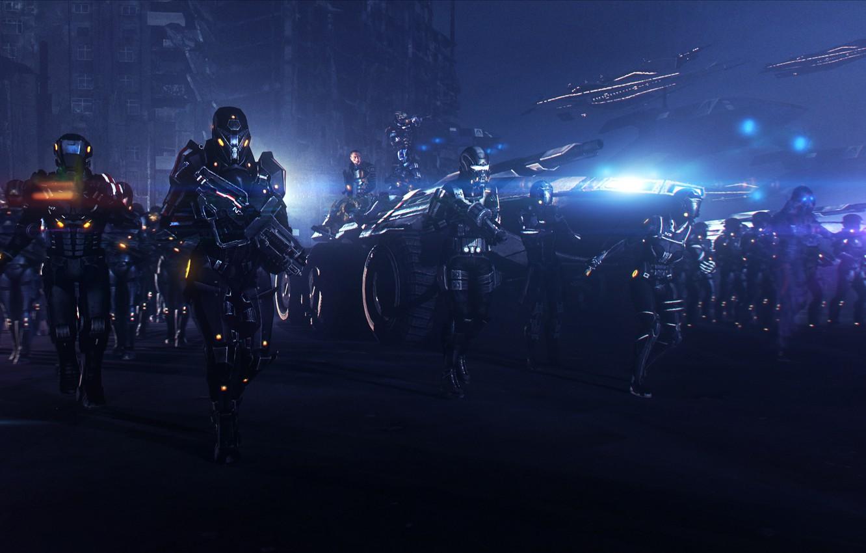 Фото обои ночь, армия, earth, битва, mass effect, вездеход, alliance, M35 Mako, mako