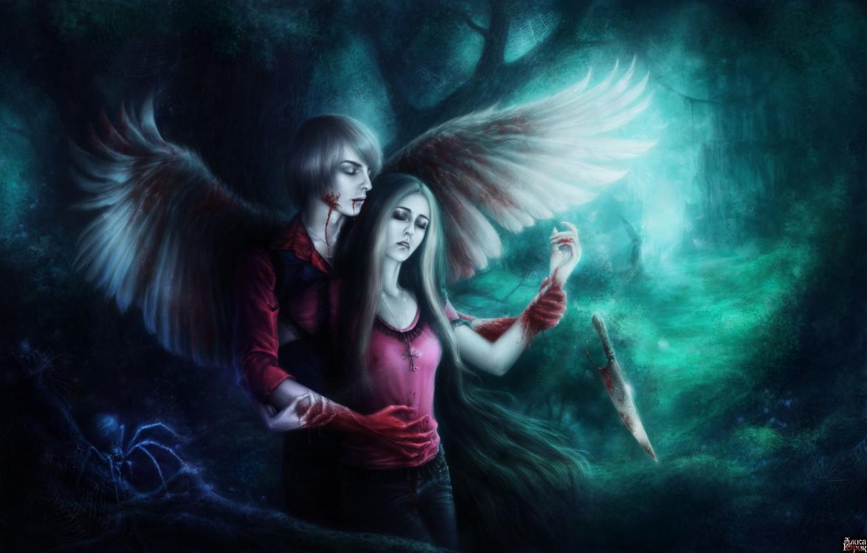 Фото обои лес, девушка, кровь, крылья, паук, арт, нож, парень, раны