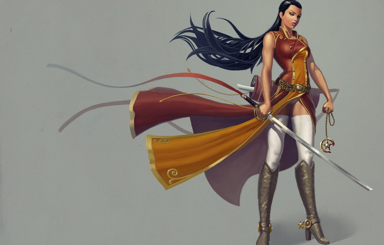 Фото обои взгляд, девушка, оружие, меч, сапоги, воин, шипы, костюм, серый фон, длинные волосы
