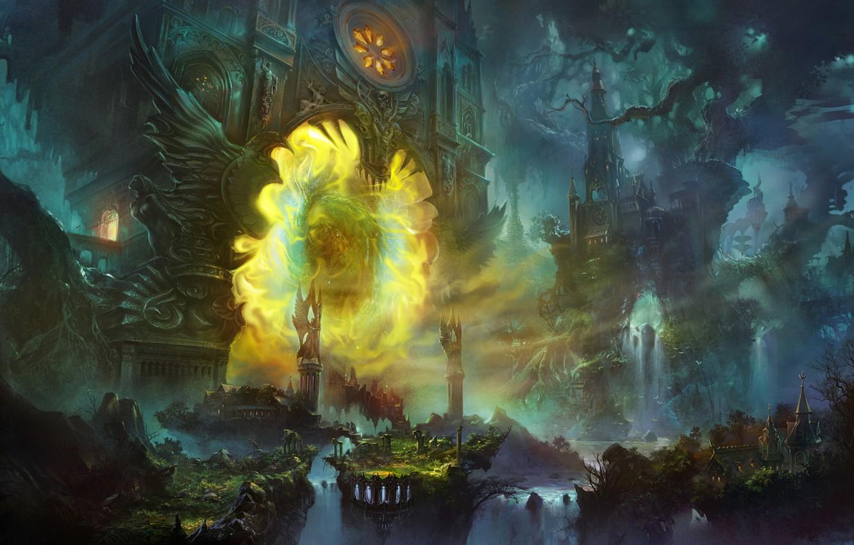 Фото обои энергия, деревья, город, корни, ветви, водопад, сооружение, портал, арт, гигантские, SHUXING LI