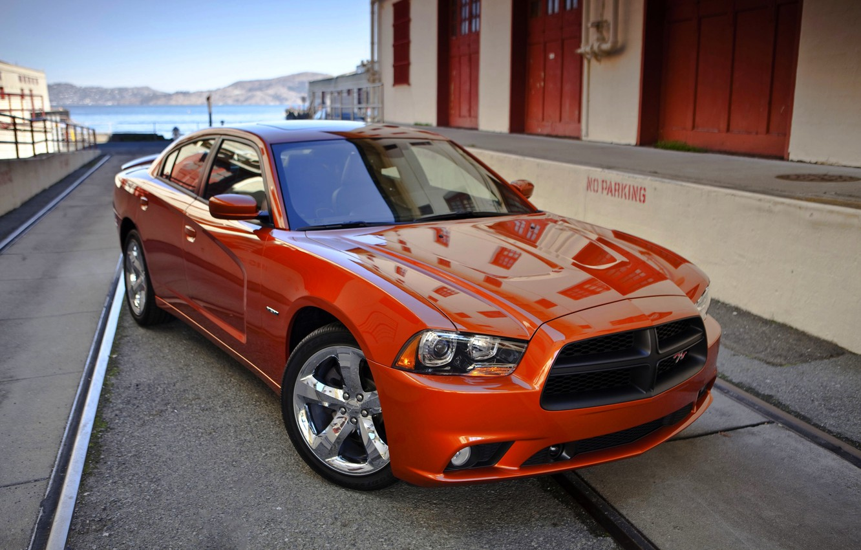 Фото обои Авто, Додж, Оранжевый, Капот, Dodge, charger, Передок