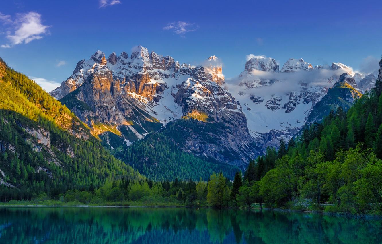 Фото обои лес, снег, пейзаж, горы, озеро, ели, landscape, mountain, lake, emerald