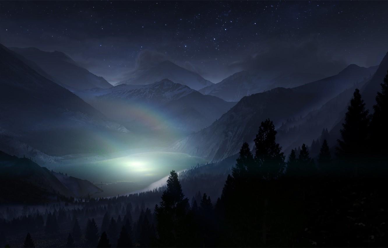Фото обои лес, небо, звезды, свет, деревья, пейзаж, горы, ночь, природа, туман, озеро, тень, радуга, силуэт