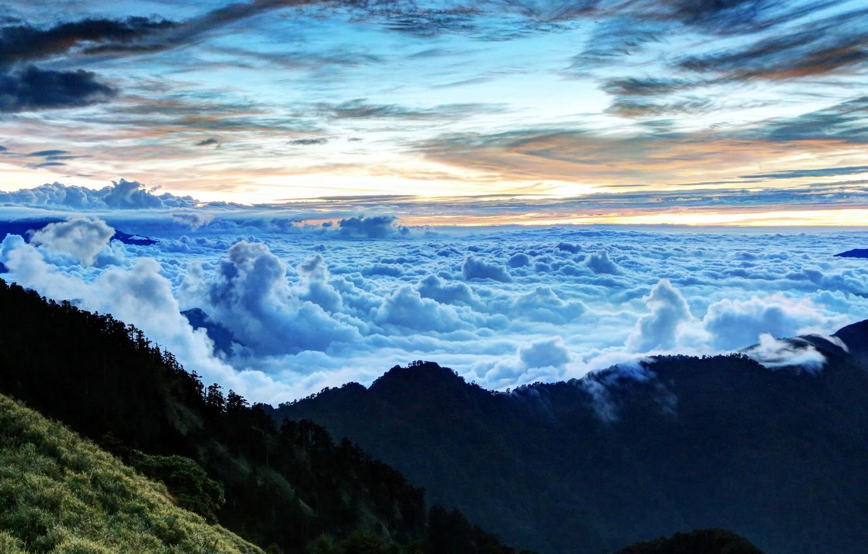 Фото обои небо, облака, горы