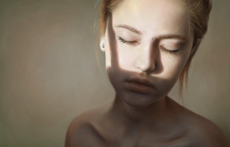 Фото обои девушка, арт, рыжая, шея, закрытые глаза, Elena Sai