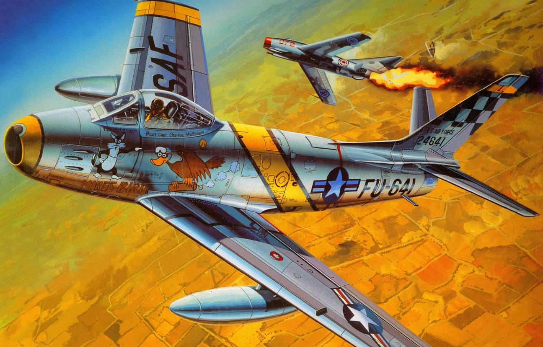 Обои painting, ww2, jet, Airplane, aviation, North american f-86d sabre, war, jet. Авиация foto 14