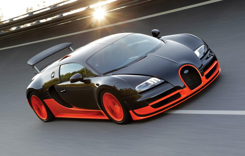 Фото обои солнце, трасса, Bugatti Veyron, бугатти, Super Sport, Супер Спорт, 16.4