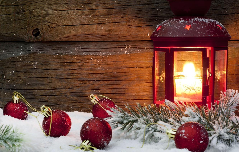 Фото обои зима, снег, красный, фон, огонь, праздник, шары, обои, игрушки, новый год, свеча, фонарь, wallpaper, new …