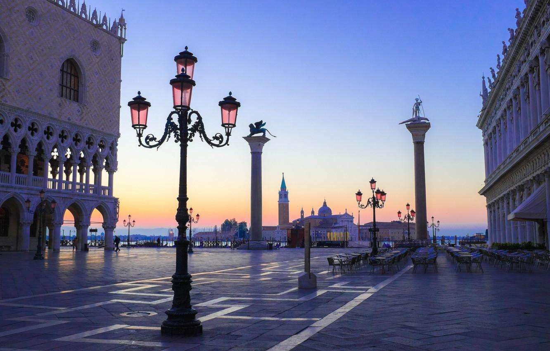 Обои дворец дожей, венеция, пьяцетта, Колонна Святого Марка. Города foto 8