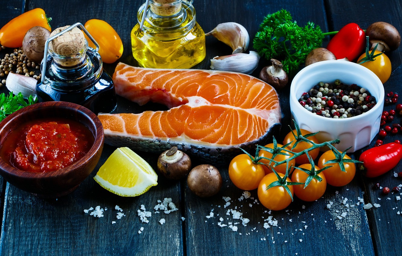 Фото обои лимон, масло, еда, рыба, овощи, соус, приправы