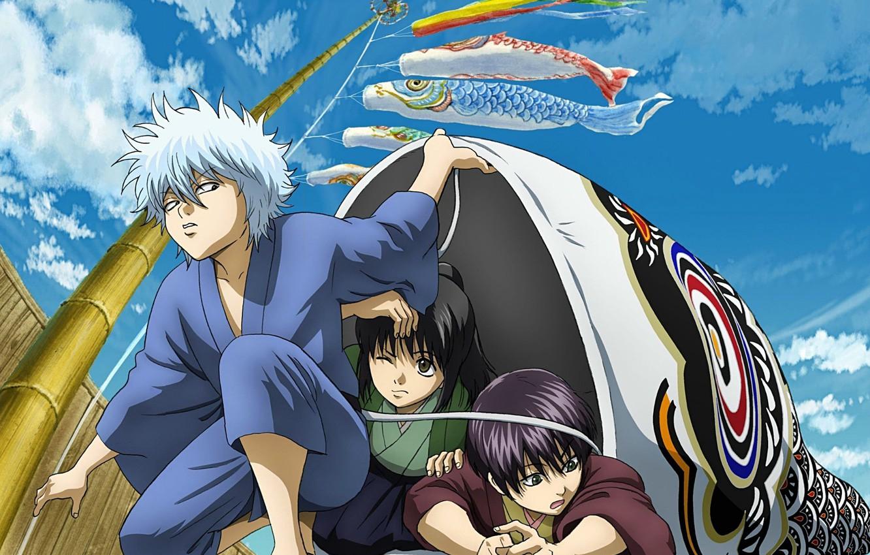Фото обои небо, дети, воздушный змей, мачта, друзья, трое, gintama, sakata gintoki, гинтама, takasugi shinsuke, silver soul, …