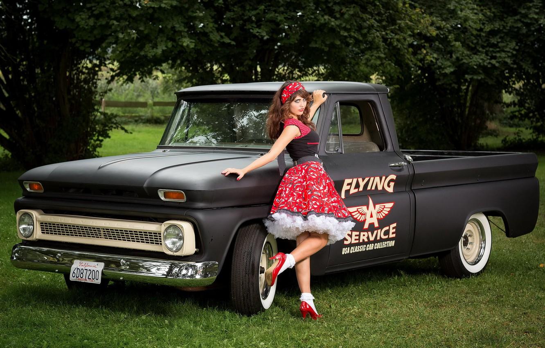 Фото обои девушка, Chevrolet C10, Pick-up
