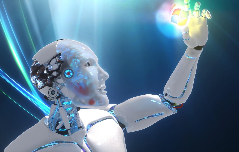 Фото обои взгляд, робот, рука, логотип, винды
