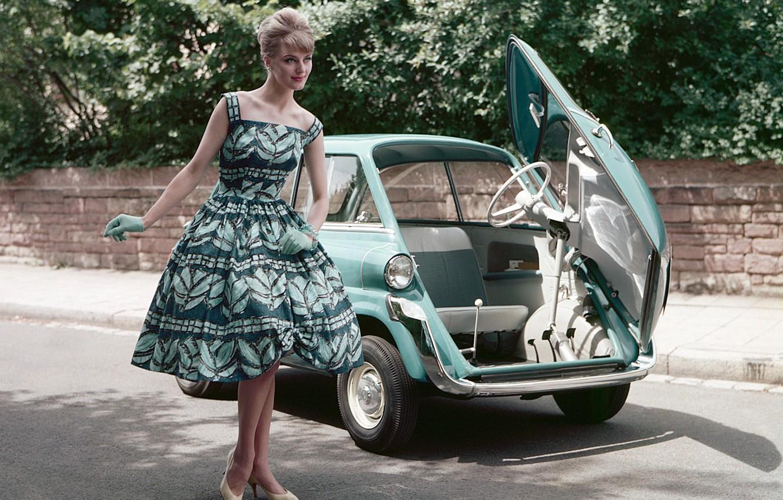 Фото обои авто, девушка, стиль, ретро, 50-60-е, bmw 600