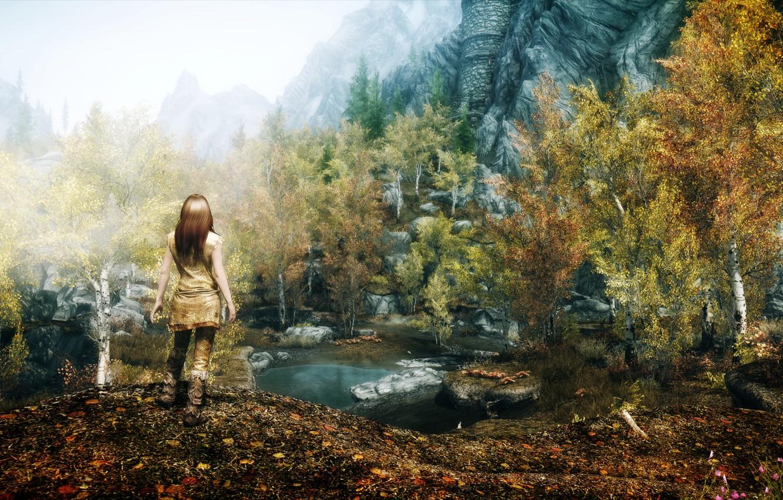 Фото обои девушка, Природа, Горы, Игра, Скалы, Деревья, Водоем, Skyrim