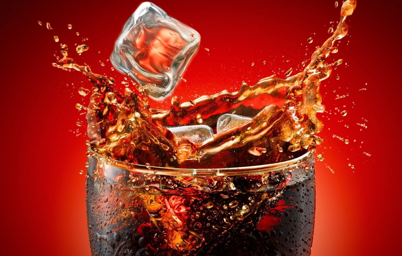 Фото обои брызги, стакан, всплеск, напиток, кока-кола, Кола