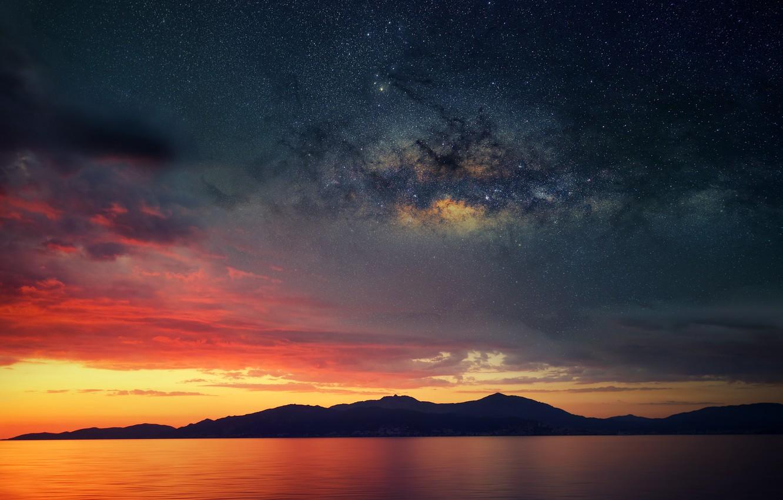 Фото обои море, звезды, облака, отражение, Франция, зеркало, силуэт, сумерки, Млечный Путь, Корсика