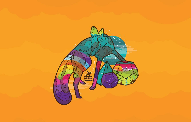 Фото обои солнце, животное, vector, радуга, утро, лиса, fox, nature, morning, sun, animal, геометрические фигуры, Marius Bauer