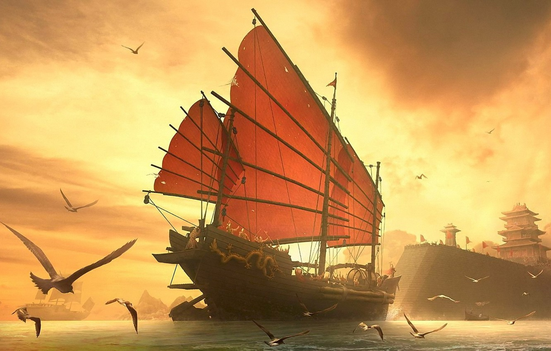 Фото обои море, корабль, чайки