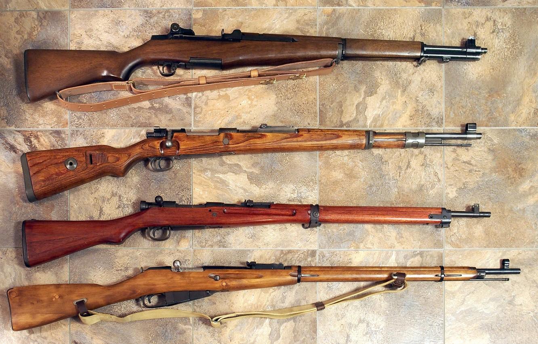 Фото обои оружие, винтовки, 1935, обр, Мосина, второй мировой войны, Арисака Тип 30, Маузер 98k, 1891-1930, сверху …