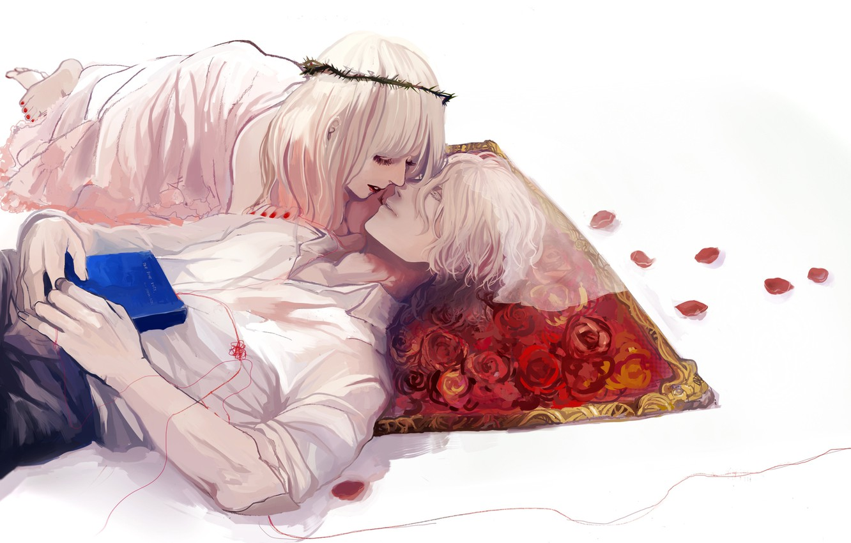 Фото обои розы, Девушка, книга, парень, нить