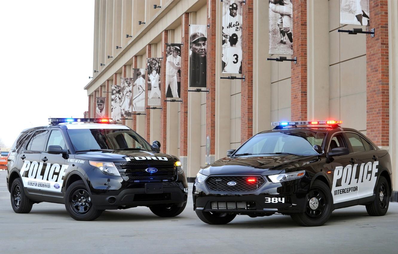 Фото обои Ford, полиция, джип, седан, форд, Taurus, Sedan, спец.версия, эксплорер, таурус, Police Interceptor, Explorer