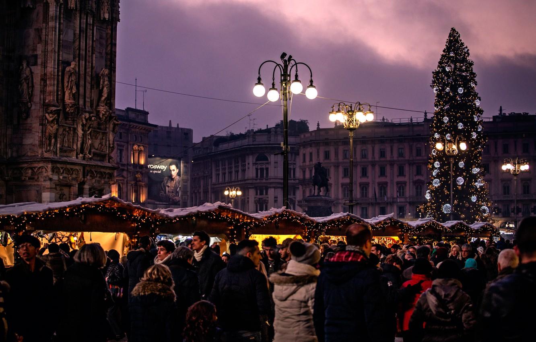 Фото обои город, ёлка, Милан, Milano, The Christmas tree, Piazza Duomo