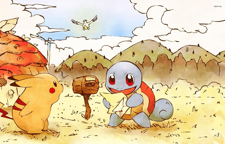 Фото обои письмо, рисунок, пикачу, покемон, pokemon, pikachu, squirtle, почтовый ящик, сквиртл, wingull, почка