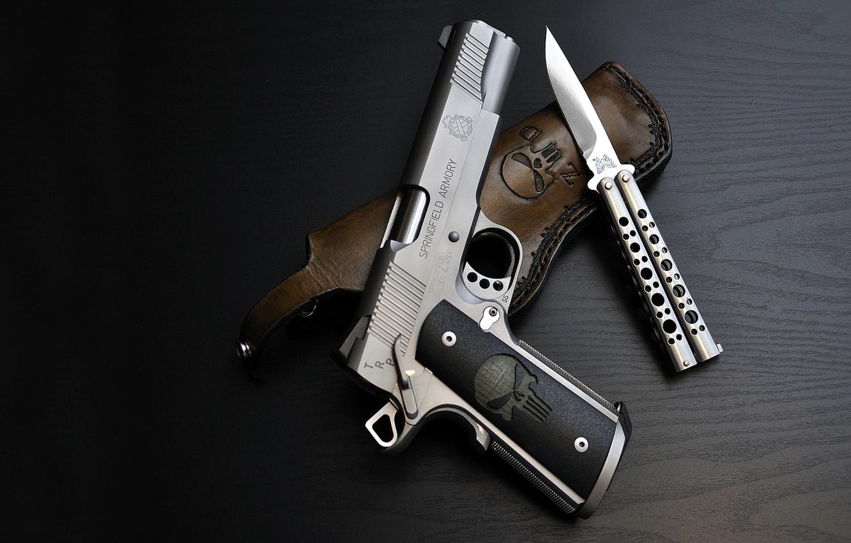 Фото обои пистолет, череп, кобура, каратель, 1911, punisher, Нож-бабочка, Benchmade 67 Tanto Recurve Balisong, springfield armory