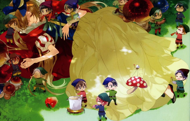 Фото обои трава, яблоко, сон, мухомор, гномы, парни, белоснежка, art, звездное небо, kazuaki, starry sky