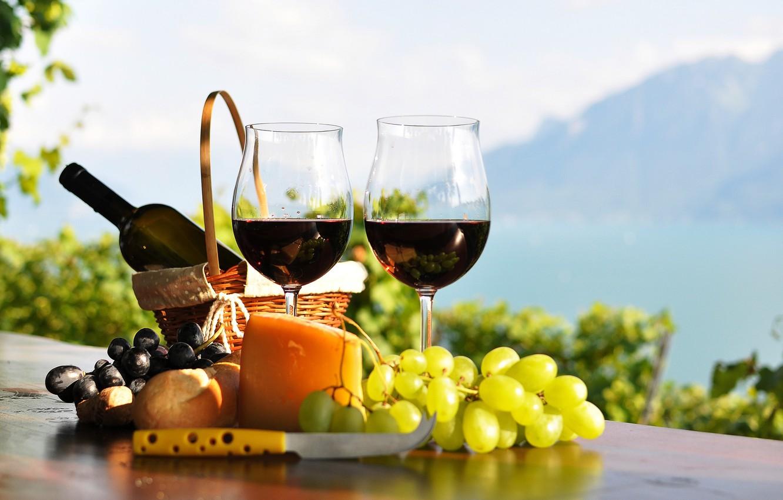 Фото обои стол, вино, красное, корзина, бутылка, сыр, бокалы, хлеб, виноград, виноградники