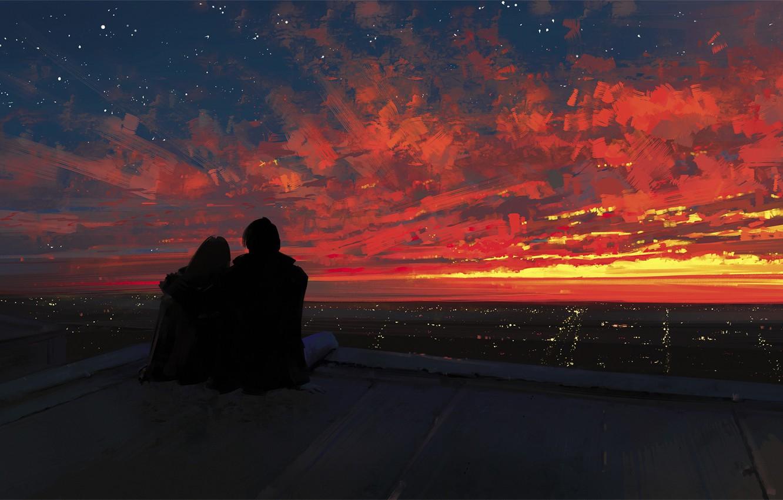 Фото обои крыша, небо, девушка, закат, город, романтика, арт, пара, парень