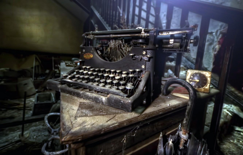 Фото обои фон, часы, пишущая машинка