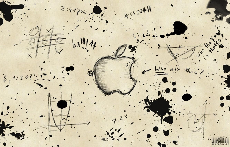 Фото обои надписи, apple, кляксы, чертежи