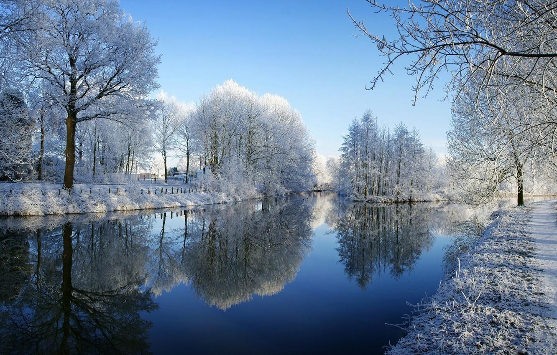 Фото обои зима, иней, снег, деревья, река