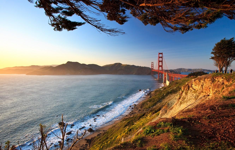 Фото обои дорога, пейзаж, мост, city, город, фото, вид, золотые ворота, Пейзаж, мосты, Пейзажи, ракурс, san francisco, …
