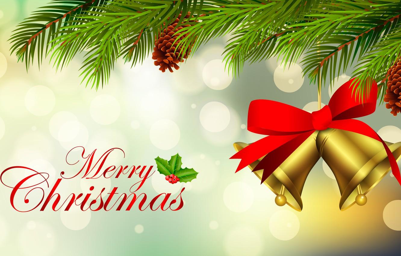 Фото обои рождество, ель, бант, шишка, колокольчик, поздравление