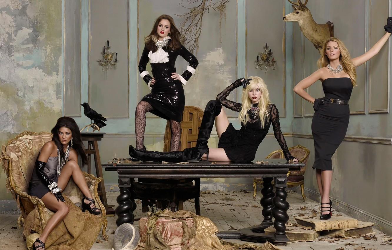 Фото обои Leighton Meester, Taylor Momsen, Сплетница, Gossip Girl, Blake Lively, Jessica Szohr
