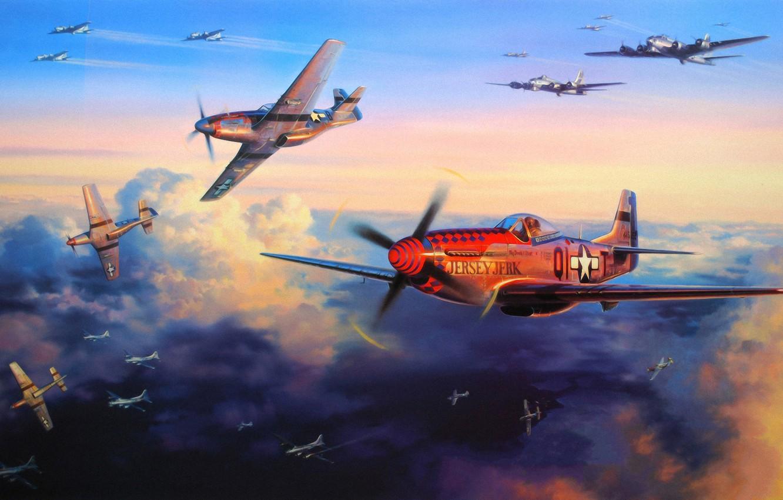 Обои war, painting, aviation, ww2, aircraft, air combat, P 47 thunderbolt, drawing, dogfight. Авиация foto 15