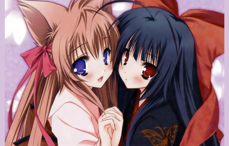Фото обои руки, кимоно, бант, ушки, подруги, большие глаза, Neko girl
