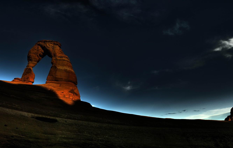 Фото обои ночь, скала, восход, Арка