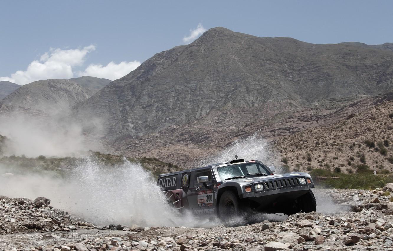 Фото обои Небо, Горы, Хаммер, Брызги, Rally, Dakar, Внедорожник, Передок, Hammer