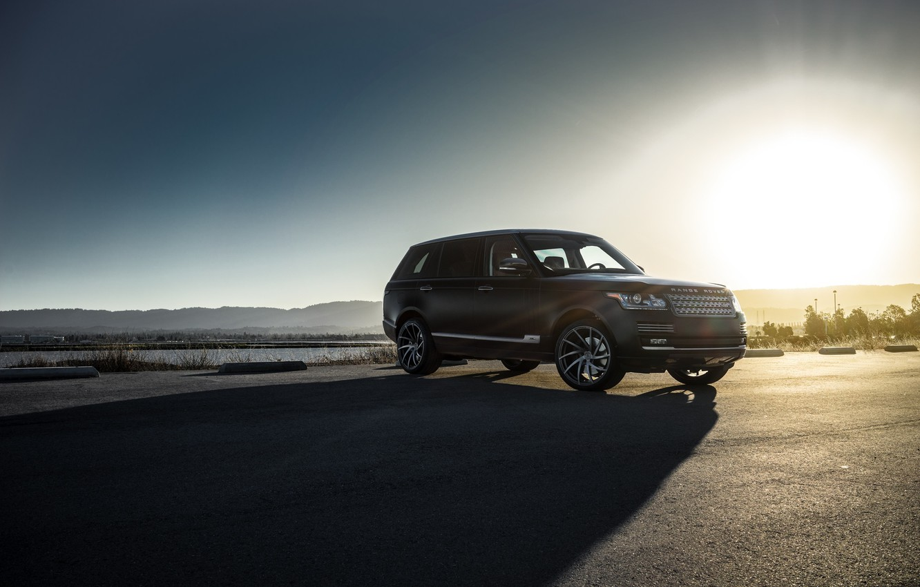 Фото обои Land Rover, Range Rover, Car, Sky, Front, Sun, Matte Black