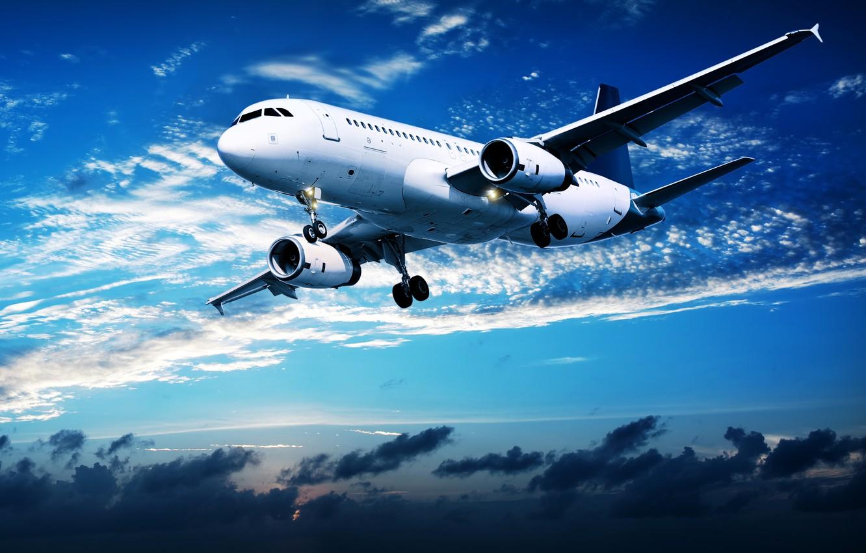 Обои облака, полет, закат, самолет, в небе, пассажирский ...