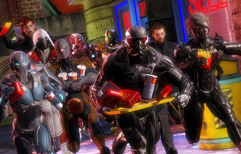 Фото обои mass effect, art, crysis, Deus Ex: Human Revolution, Smoke, Assassin's Creed, Nanosuit, Adam Jensen, Raiden, …