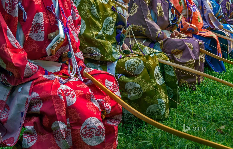 Фото обои краски, Япония, Токио, костюм, кимоно, лучники, Meiji Shrine