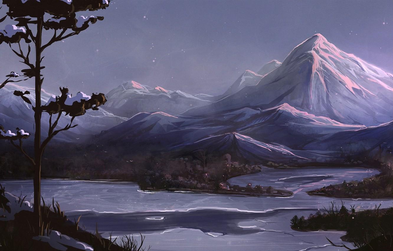 Фото обои деревья, горы, ночь, река, арт, нарисованный пейзаж