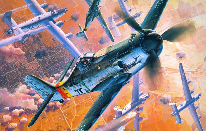 Обои ww2, dogfight, war, spitfire, painting. Авиация foto 13